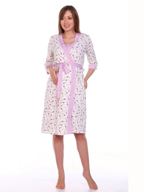 Комплект в роддом халат и сорочка Тюльпаны/молочный для беременных и кормящих