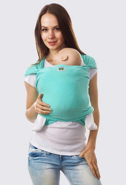 Трикотажный слинг-шарф для новорожденных, Ментол