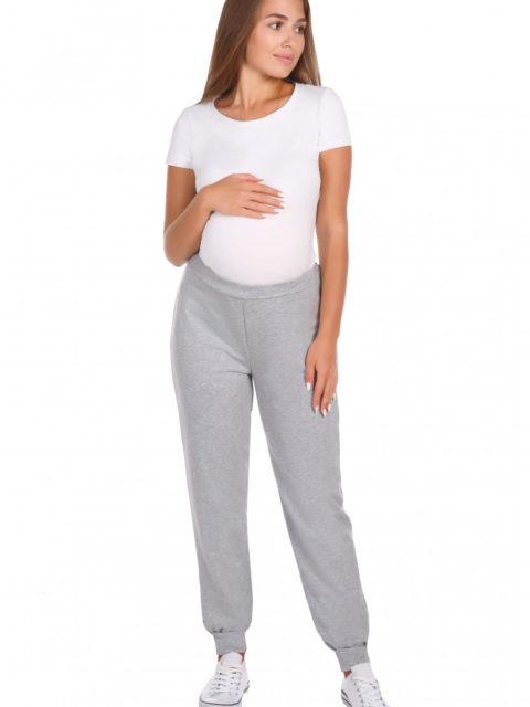 Брюки для беременных спортивные Стайл, футер серый меланж