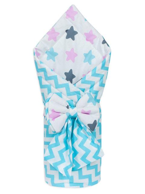 Конверт-одеяло на выписку «Bambino» белый волны/звезды, лето