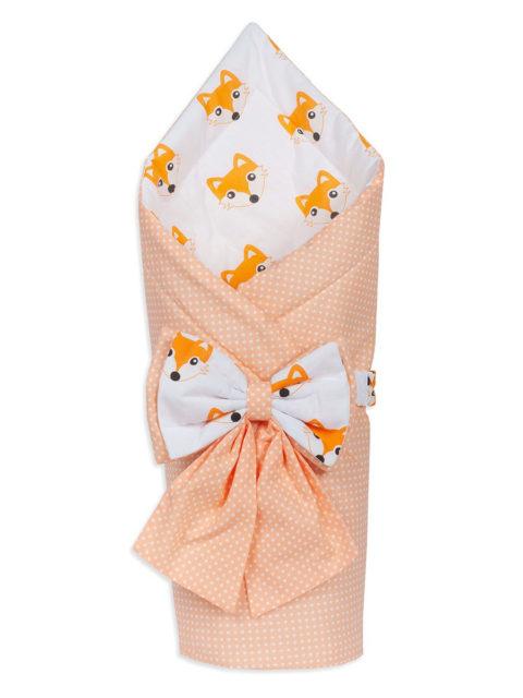 Конверт-одеяло на выписку «Bambino» персиковый белый/лисички, лето