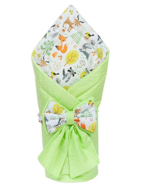 Конверт-одеяло на выписку «Bambino» салатовый белый/зверушки, лето