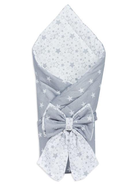 Конверт-одеяло на выписку «Bambino» серый белый/звезды, лето