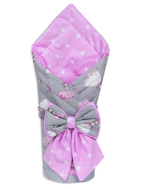 Конверт-одеяло на выписку «Bambino» белый розовый/горох, лето