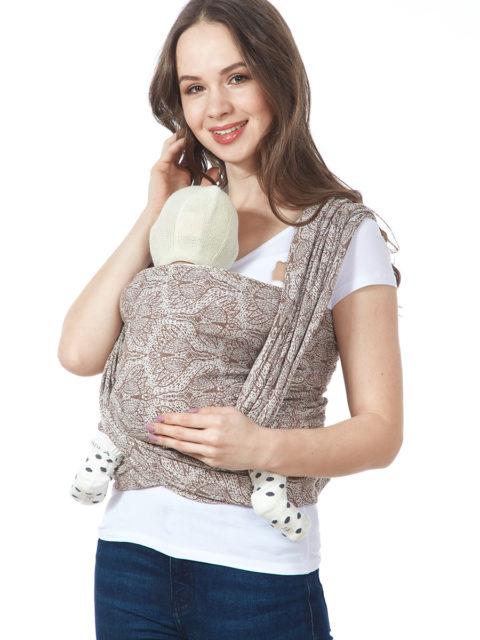 Слинг-шарф «Флорал», long, брауни