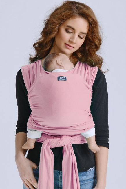 Слинг-шарф трикотажный для новорожденных Diva Stretchy Pink