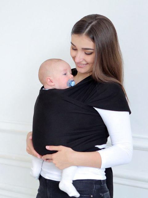 Трикотажный слинг-шарф для новорожденных, Черный оникс