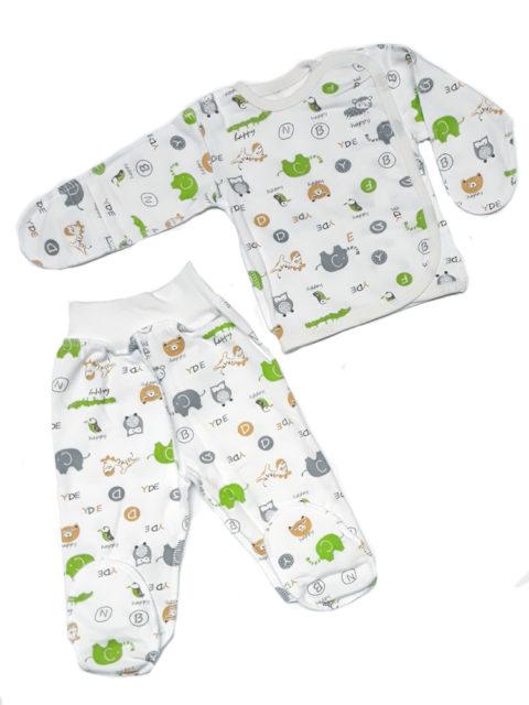 Комплект одежды футер (распашонка+ползунки) Слоники салатовый/серый