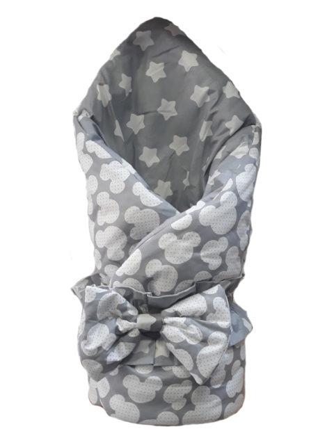 """Конверт-одеяло с бантом """"Калейдоскоп"""", Микки серый/звезды (весна-осень)"""