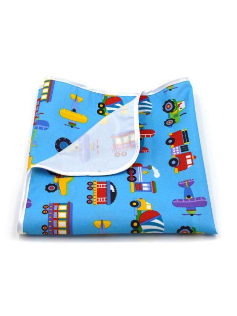 Пелёнка непромокаемая из микрофибры, для кроватки 60х90 см., темно-голубой