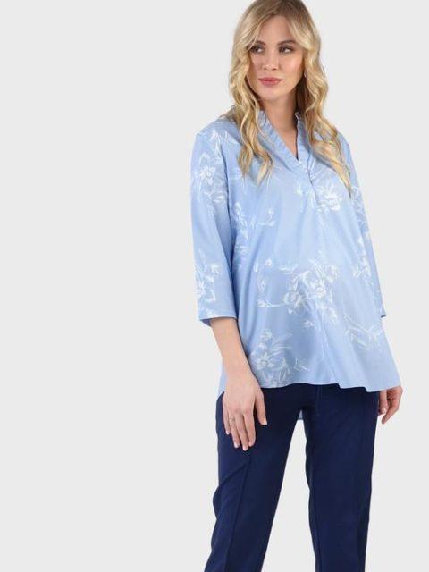 Блузка для беременных и кормления Жасмин, голубой