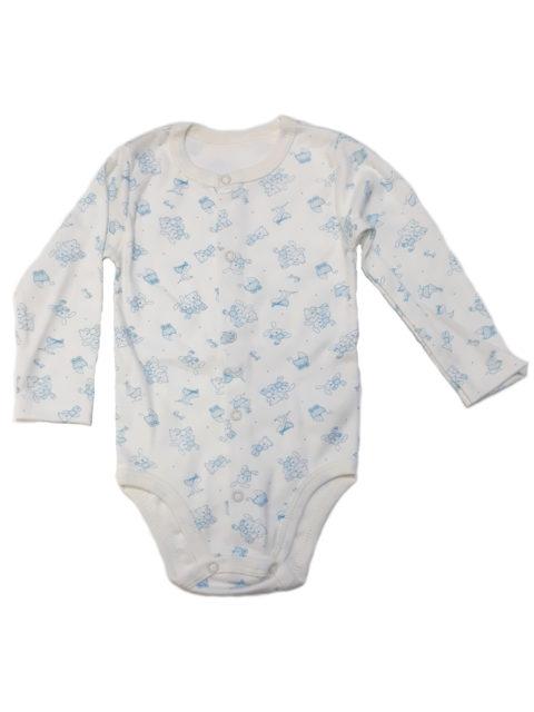 Боди для новорожденных с длинным рукавом Карусель, 107/2 белый/голубой зайки и мишки