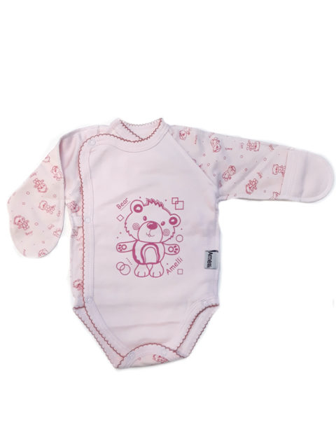 Боди для новорожденных с длинным рукавом Amelli КЛ.110.004.0.027.005 Мишутка/розовый