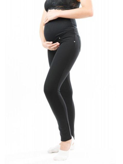 Брюки для беременных зауженные (ткань с начёсом с изнанки) БР-502, черный
