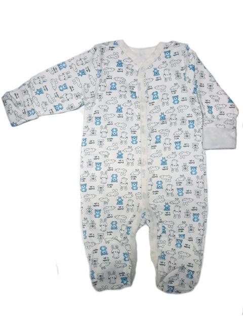 Комбинезон-слип для новорожденных Карусель, 105/6 мишки/зайки голубой/белый