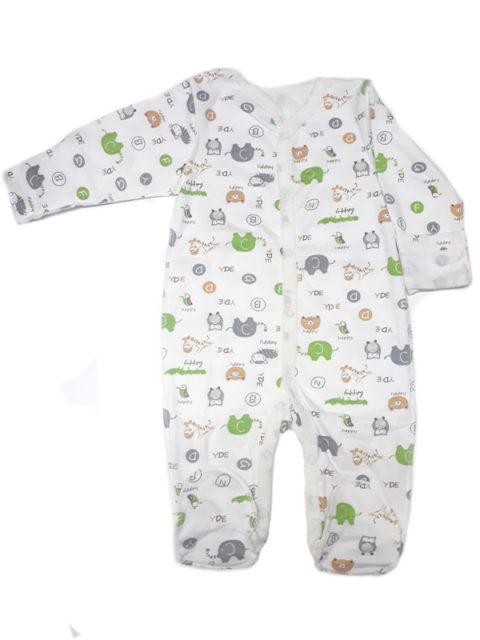 Комбинезон-слип для новорожденных Карусель, 105/6 слоны/совы, салатовый/серый