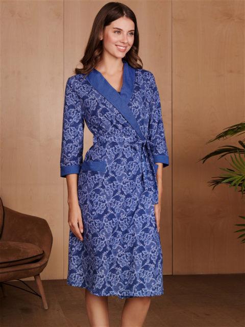 Комплект в роддом халат и сорочка Victory синий для беременных и кормящих