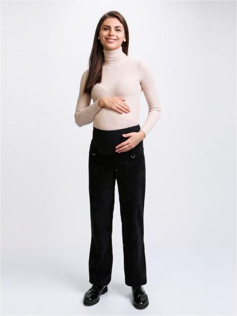Брюки для беременных вельветовые прямые (ткань с начёсом с изнанки) Глория, черный
