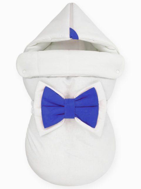 "Зимний конверт для новорожденных на выписку ""NewBorn White & Dark Blue"""
