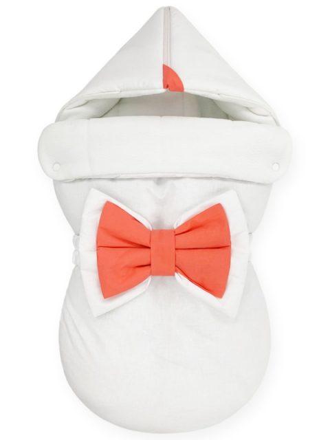 "Зимний конверт для новорожденных на выписку ""NewBorn White & Coral"""