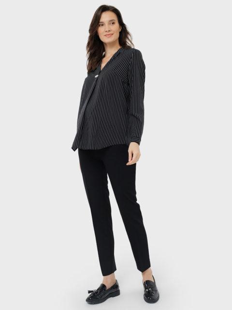 Блузка для беременных Элионора, черный/полоска