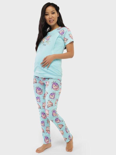 Комплект домашний для беременных и кормящих Лукас, лазурный