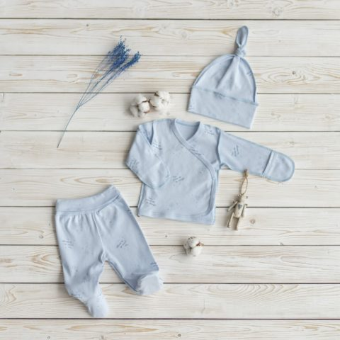 Комплект одежды на выписку для новорожденных Орхидея, голубой