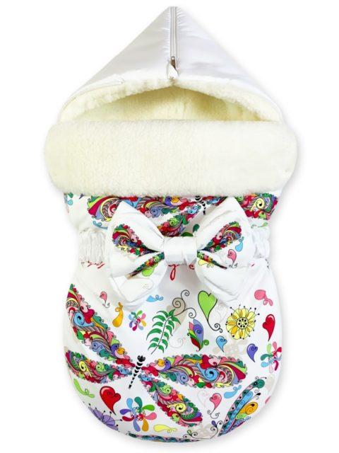 "Зимний конверт для новорожденных на выписку на овчине ""Butterfly"""