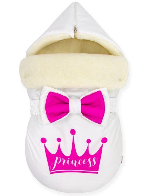 """Зимний конверт для новорожденных на выписку на овчине """"Pink Crown for Princess"""""""