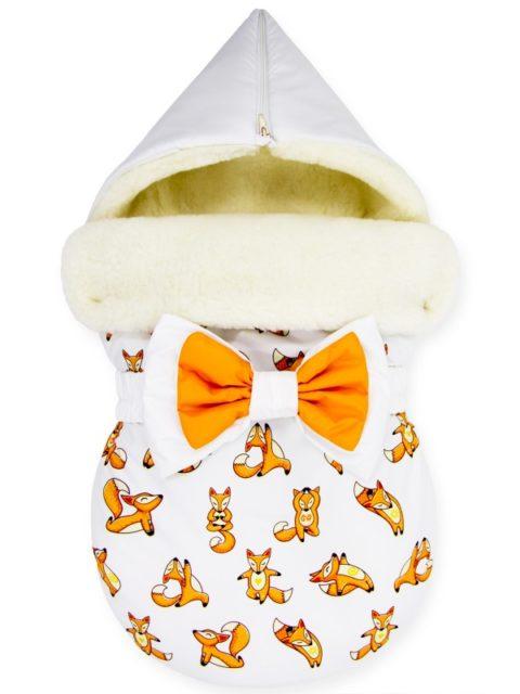 "Зимний конверт для новорожденных на выписку на овчине ""Yoga Fox"""