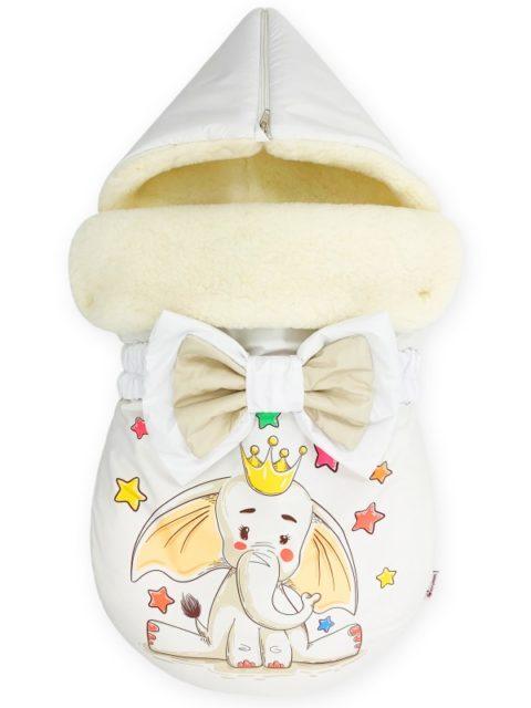 """Зимний конверт для новорожденных на выписку на овчине """"Crowned Elephant"""""""