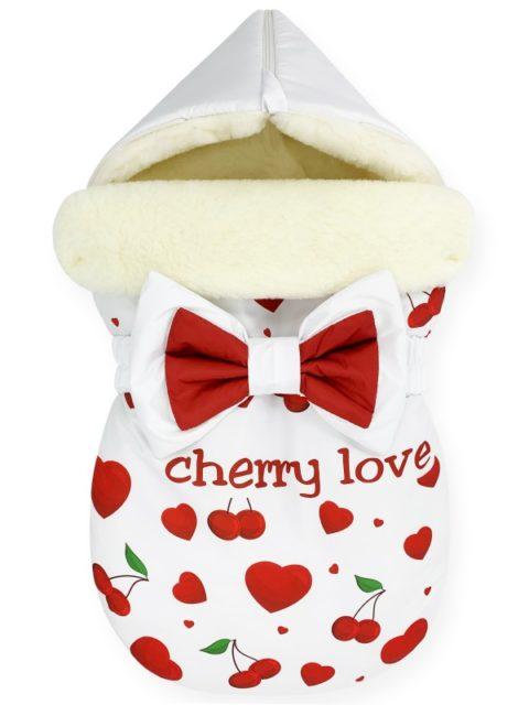 """Зимний конверт для новорожденных на выписку на овчине Мишка """"Cherry Love"""""""