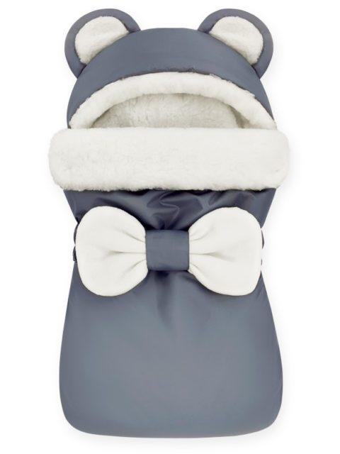 """Зимний конверт для новорожденных на выписку на овчине Мишка """"Star Line Grey"""