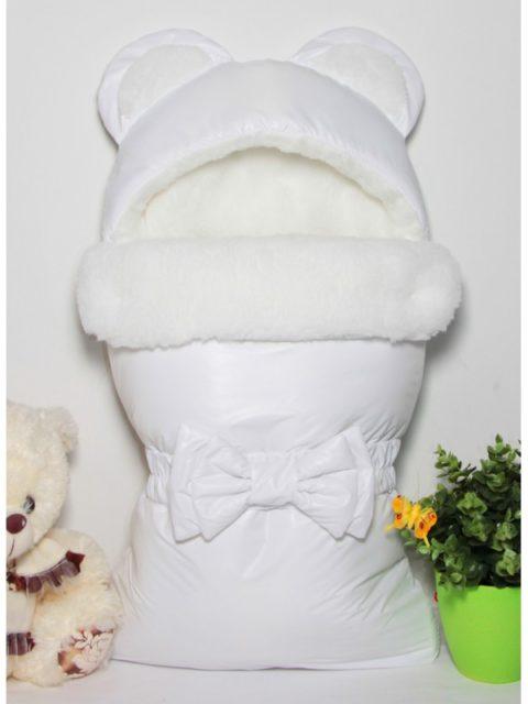 Зимний конверт для новорожденных на выписку на овчине Мишка White