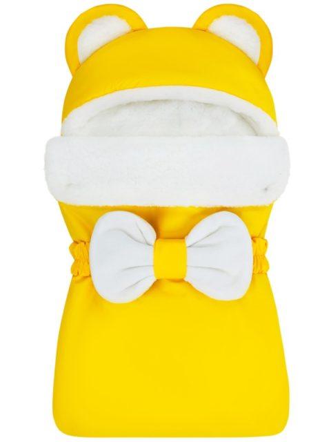 Зимний конверт для новорожденных на выписку на овчине Мишка Yellow
