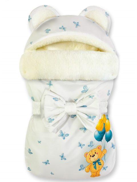 """Зимний конверт для новорожденных на выписку на овчине Мишка """"Winter Bears Blue"""