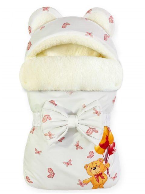 """Зимний конверт для новорожденных на выписку на овчине Мишка """"Pink Balloons"""