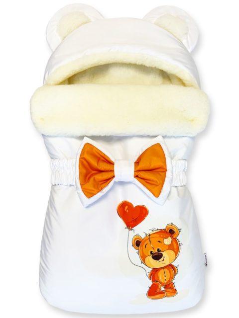 "Зимний конверт для новорожденных на выписку на овчине Мишка ""Love-Balloon"""