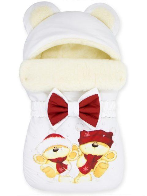 """Зимний конверт для новорожденных на выписку на овчине Мишка """"Winter Bears Red"""