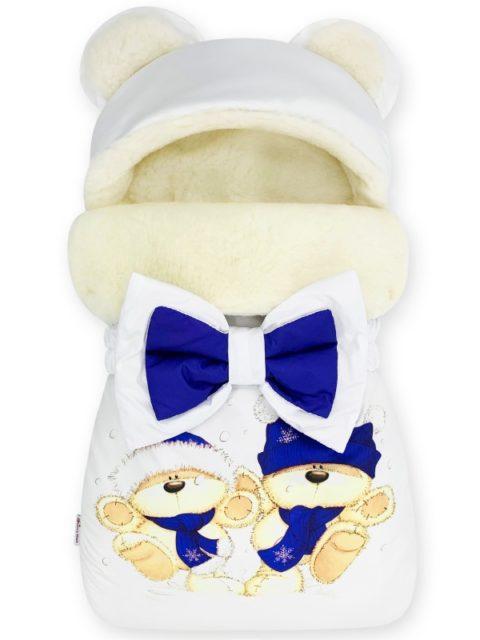 """Зимний конверт для новорожденных на выписку на овчине Мишка """"Blue Balloons"""""""