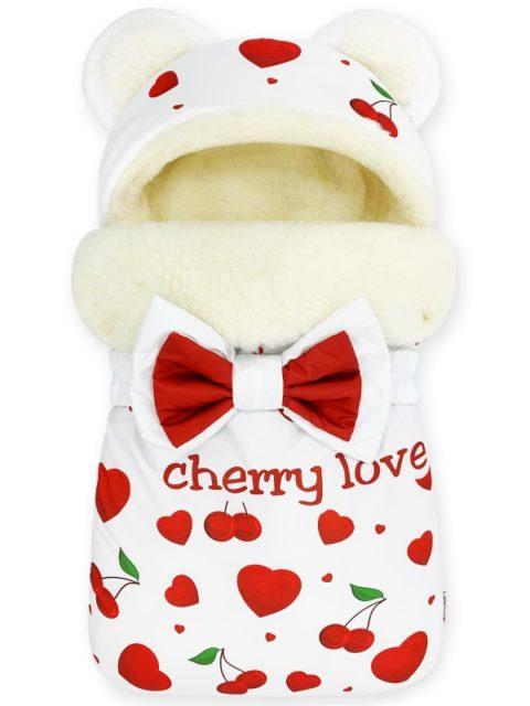 """Конверт на выписку на овчине Мишка """"Cherry Love"""" с бантом, зима"""
