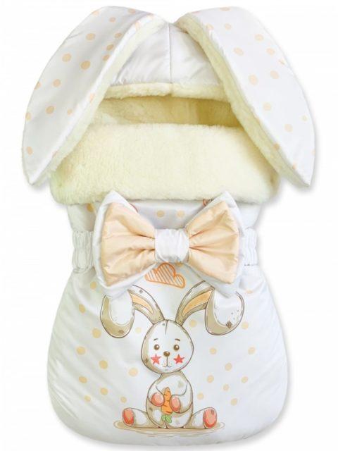 Зимний конверт для новорожденных на выписку на овчине Зайка Star Line White