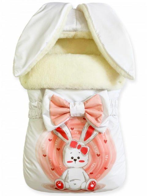 Зимний конверт для новорожденных на выписку на овчине Зайка с Морковкой