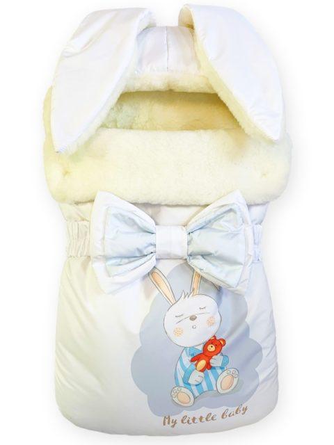 Зимний конверт для новорожденных на выписку на овчине Зайка My Little Baby