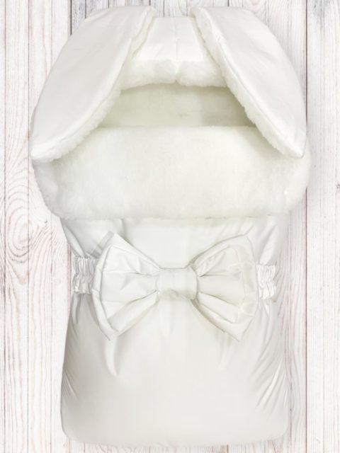 Зимний конверт для новорожденных на выписку на овчине Зайка White