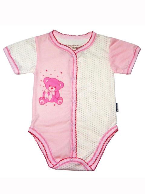 Боди для новорожденных 290.010.0..027.0.012 розовый мишка
