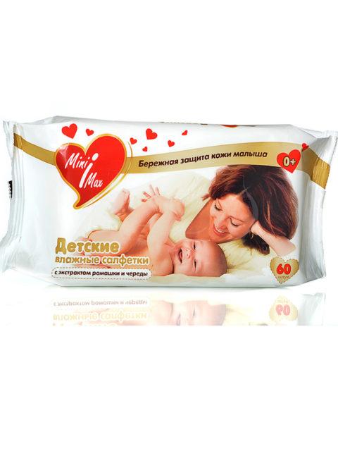 Детские влажные салфетки MiniMax 60 шт. с экстрактами ромашки и череды 0+