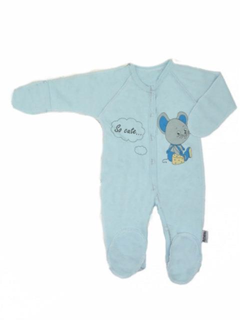 Комбинезон-слип для новорожденных Мышка с сыром, голубой