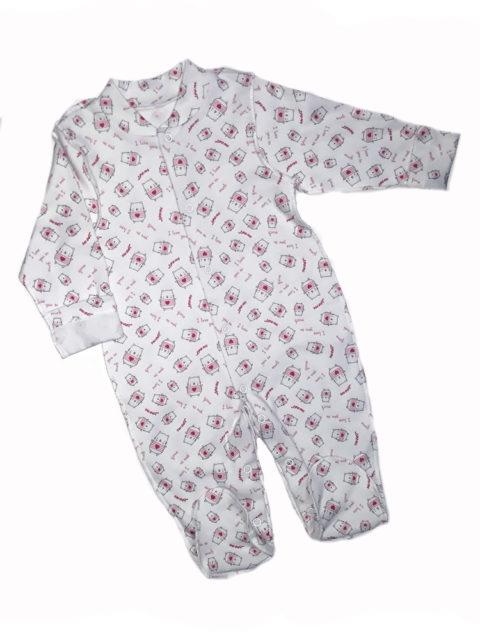 Комбинезон-слип для новорожденных Карусель, 105/2 котики/сердечки розовый