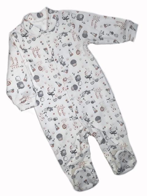 Комбинезон-слип для новорожденных Карусель, 105/3 зоопарк, молочный